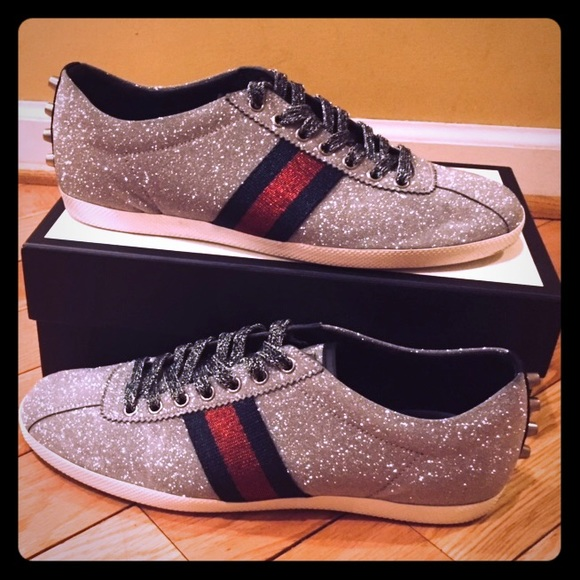 ddf064a9ee6 Gucci Other - Gucci Bambi silver glitter sneakers 42
